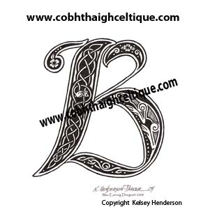"""B"" Celtic Cat & Mouse - Zoomorphic Alphabet"