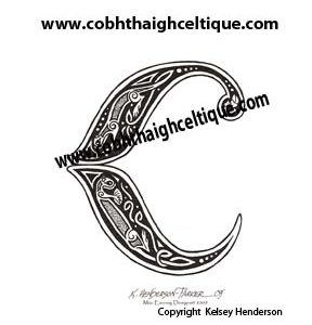 """C"" Celtic River & Sea Otter - Zoomorphic Alphabet"