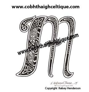 """M"" Celtic Boars - Zoomorphic Alphabet"