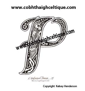 """P"" Celtic Unicorn - Zoomorphic Alphabet"