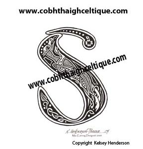"""S"" Celtic Dragon - Zoomorphic Alphabet"