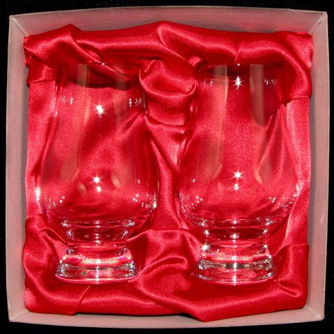 2 Glass Gift Box - Red Satin